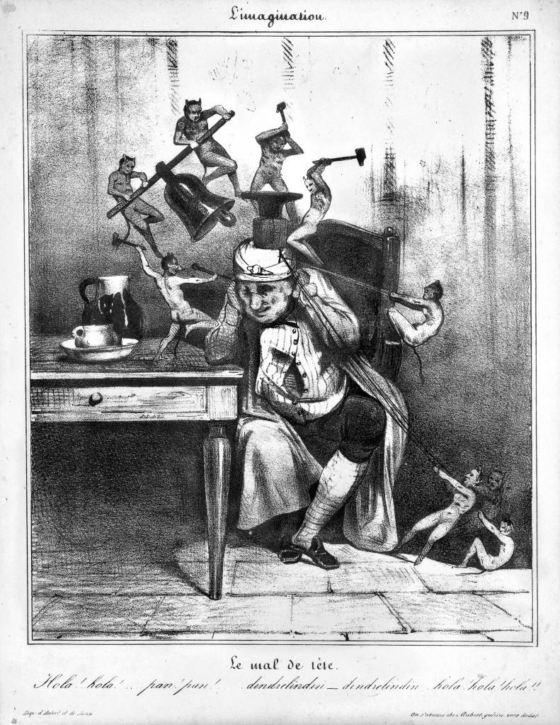 L0019753 Devils besiege a man's head; symbolising headache. Lithograp